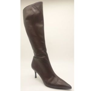 GUCCI Knee High Boots Brown Leather 163369